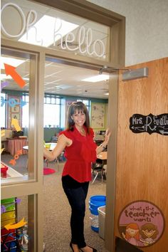 """I made the Oh, Hello above my door and the arrows on the side with my Silhouette Cameo. I am so excited to share my classroom with you! I haven't """"re-done"""" a classroom in YEARS! Classroom Setting, Classroom Door, Classroom Design, Kindergarten Classroom, Future Classroom, Classroom Themes, School Classroom, Classroom Quotes, Classroom Projects"""