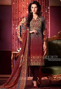 #Vaishali Digital Delight Print #Crepe #SalwarKameez Suit 1001 #Burgundy