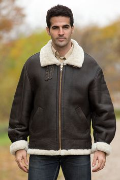 Back view of B-3 Bomber Sheepskin Jacket from FlightJacket.com ...