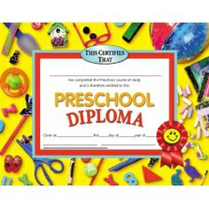 """Preschool Diploma. Printed on high quality paper and compatible with most laser printers. Full color, 8 1/2"""" x 11"""". Set of 30. $5.79 #graduation #diploma"""