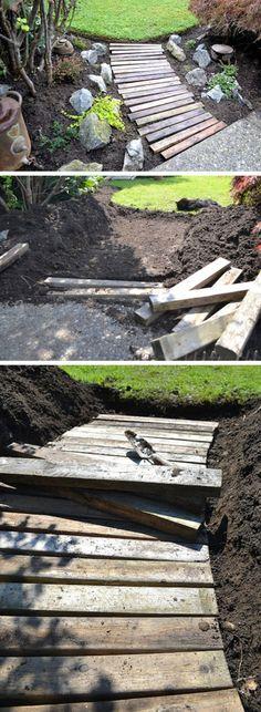 Pallet Wood Garden Walkway | DIY Garden Projects Ideas Backyards | DIY Garden Decoartions Budget Backyard