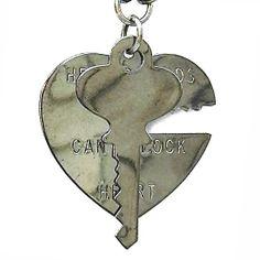 """Heart & Key"" Pendant by Gasoline Glamour (Gunmetal)"