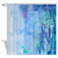 Artistic Shower Curtain -Blue Watercolor Bliss , unique,blue, teal, painted, colorful, decor, home