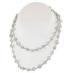 "Sterling Silver 7-10mm White Round Ringed Freshwater Cultured Pearl and 8mm Pave Crystal Bead 36"" Necklace"