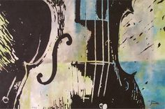 Violin, musical instrument,  Acrylic Poster Style, contemporary original painting  by Milena Gawlik