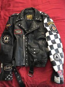 Vtg Leather Rocker Jacket Cafe Racer Club 59 Punk Rock Ebay Cool
