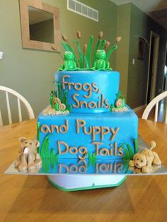 Frogs snails and puppy dog tails little boys baby shower birthday tiered cake
