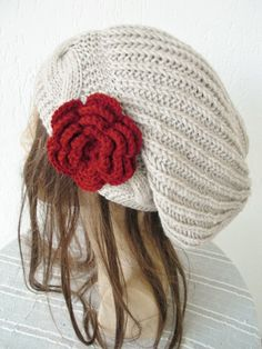 Hand Knit Hat Womens hat   Slouchy Beanie with Flower   by Ebruk, $38.00