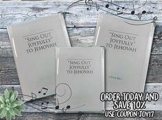 Sing Out Joyfully! The songbook covers are here  Order today and save 10% (coupon JOY17) Clear Vinyl Cover: This vinyl songbook cover for the new song book protects its precious cover from scuffs and pen marks. Sing out joyfully to Jehovah, confidently in knowing that you're protecting your beloved song book. All of our transparent book and Bible covers provide excellent protection and durability.  http://MinistryIdeaz.com/Sing-Out-Vinyl