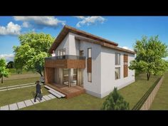Small attic style house design. 100 square meters /floor plan. House pla...