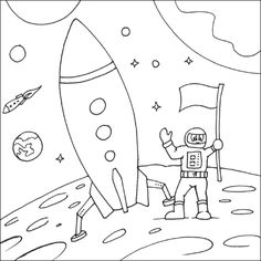 Week Stars Stripes Space Coloring Page