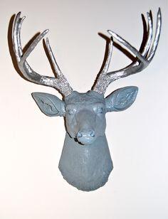 Faux Deer Head  Blue Gray and Silver Antlers  Deer by NearAndDeer, $89.99