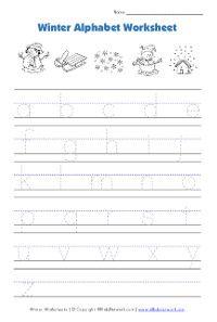 winter lowercase alphaet tracing worksheet