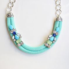 Mint and Blue Statement Necklace with rhinestones - Chunky bib mint and blue… Fabric Necklace, Rope Necklace, Fabric Jewelry, Rhinestone Necklace, Necklaces, Rope Jewelry, Jewelry Crafts, Beaded Jewelry, Jewelery
