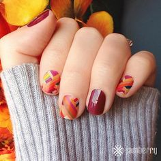 Double Crossed Matte with Boysenberry accent www.macey.jamberrynails.net