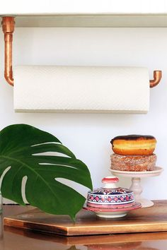 DIY Suspended Copper Pipe Paper Towel Holder