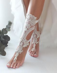 Foot jewelry lace barefoot sandals sexy sandals wedding | Etsy
