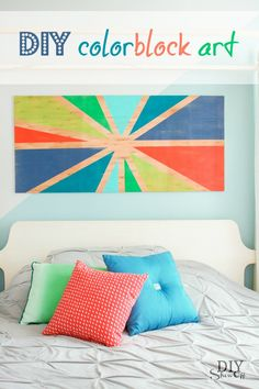 DIY color block sunburst wall art tutorial @diyshowoff