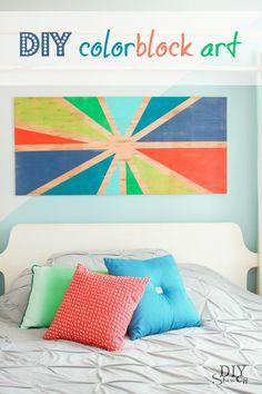DIY color block sunburst wall art tutorial @diyshowoff; lots of other possibilities instead of a sunburst, i.e. quilt block, stripes, plaid (tartan), etc.
