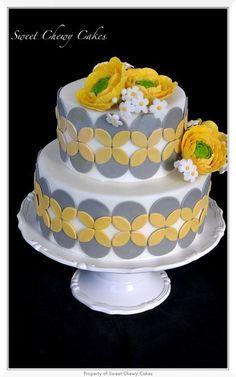 Gray and Yellow Ranunculus Cake