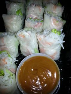 Summer Rolls with Peanut Dipping Sauce  Recipe by: Home Kine Grindz http://homekinegrindz.blogspot.com/2012/11/summer-rolls-with-peanut-dipping-sauce.html