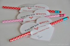 "DIY: Just Write Valentine's Day Printable Card-I have another fun and free Valentine's Day printable card to share with you. It's heart shaped and may be ""just right"" as a non-candy option for school valentines. They are adorable ""You are just WRITE"" Valentine's Day cards."