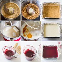 Cheesecake Bars with Wine Gelée- step by step photo tutorial
