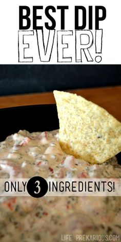 This really is the best dip EVER! It will seriously change your life, guys. I'm not exaggerating. It's that good. AND it's only 3 ingredients! Serve with tortilla chips. :) I alwa…