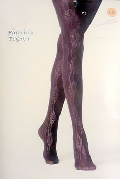 775026a7535 a new day Reverse Floral Patterned Fashion Tights 1X Ebony (Black)  fashion