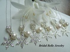 Christmas Wedding Snowflake Bridesmaid Necklaces Bridal Jewelry December Wedding Winter Wedding. $95.00, via Etsy.