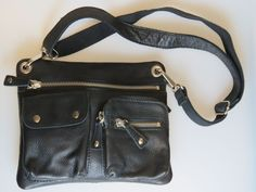 FOSSIL Sutton Black Pebbled Leather Crossbody Adjustable Strap Purse LARGE SIZE #Fossil #MessengerCrossBody