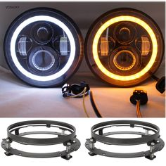 118.68$  Buy here - http://aiufq.worlditems.win/all/product.php?id=32800408163 - VOSICKY 7 Inch LED halo Headlights Angel Eyes with bracket  For Jeep Wrangler JK CJ  Daymaker Angel Eye  DRL &Turn Signal Lights
