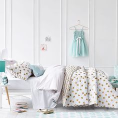 With it's stunning metallic gold polka dots, this coverlet from Adairs Kids makes me want to be a kid again. Suitable for a single or double bed, style it with the Hampton Armchair, Taylor Tripod Table and the Unicorn Cushion. Shop link in profile. #adairskids #bed #bedlinen #kidsbedroom #kidsbedroominspo