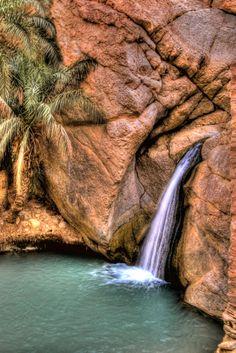 Tunisia mountian oasis waterfall.