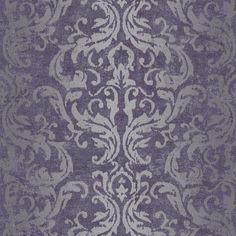Drama Purple Damask Metallic Wallpaper   Departments   DIY at B