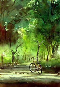'Forest Bathing Road' - by Japanese artist Kazuo Kasai - (summer, art, illustrations, paintings) Watercolor Landscape, Landscape Paintings, Watercolor Paintings, Watercolours, Japan Watercolor, Art Aquarelle, Bicycle Art, Bike, Japanese Artists