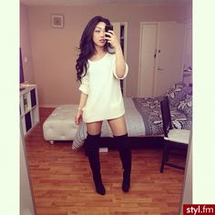 Sweater dress and high boots ;)