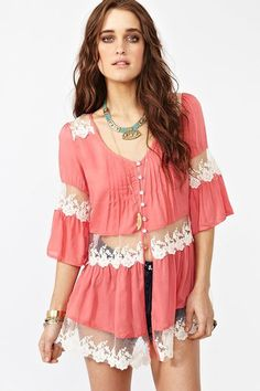 Ashbury Lace Top - Coral