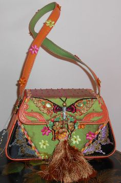Insanely Beautiful New Mary Frances Evening Bag in Organge Silk Leather & Beads #MaryFrances #EveningBag