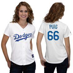 Yasiel Puig Jersey  Women s Home White Los Angeles Dodgers Baseball Jersey  Dodgers Jerseys 4ae49086aad