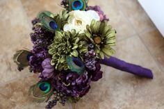 Custom Listing for Michelle  Peacock by SouthernGirlWeddings, $275.00 - Plum Teal Lime Bouquet