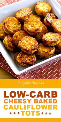 Low-Carb Cheesy Baked Cauliflower Tots are perfect for a bite-sized snack or serve for a delicious low-carb and Keto side dish! Best Gluten Free Recipes, Keto Recipes, Healthy Recipes, Vegetarian Recipes, Healthy Food, Vegetarian Cooking, Side Recipes, Cream Recipes, Healthy Kids