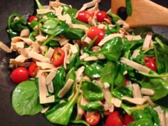 Fettuccine with spinach and tomatoes - Have you tried either of our low-carb pastas? The Fettuccine is not only low-carb (and gluten-free!) but packs 20 grams of protein into one serving! Pick up a box and try out this great recipe - enjoy~