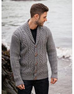 ARAN - Cabled Shawl Collar Cardigan with Ribbed Sleeves