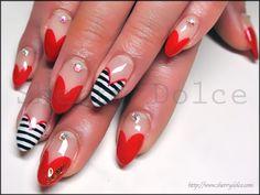 Japanese Nail Art (Valentine's Day, Heart, Stripes, Red, Rhinestones)