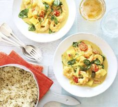 Spice up your mid-week meals with a curry in a hurry - throw in a handful of spices with shellfish, tomatoes, and spinach