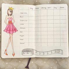 Bullet Journal - Monats Tracker Gewicht und Größe
