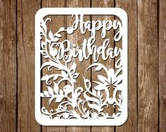 Birthday Papercut Template Birthday Cards Template Papercut | Etsy Cricut Birthday Cards, Daughter Birthday Cards, Birthday Card Template, Cricut Cards, Diy Birthday, Card Birthday, Paper Cutting Templates, Christmas Templates, Diy Projects To Try