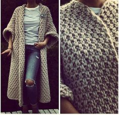Crochet Patterns Cardigan Thick yarn is gaining popularity. Crochet Coat, Crochet Jacket, Knitted Coat, Crochet Cardigan, Crochet Clothes, Crochet Winter, Cardigan Pattern, Long Cardigan, Easy Crochet