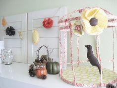 Two Shades of Pink: Decorative Fabric Birdcage Tutorial Bird Crafts, Flower Crafts, Fabric Birds, Fabric Flowers, Diy Bird Cage, E Craft, Craft Ideas, Shabby Chic, Autumn Crafts